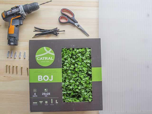 material instalacion jardin vertical boj catral