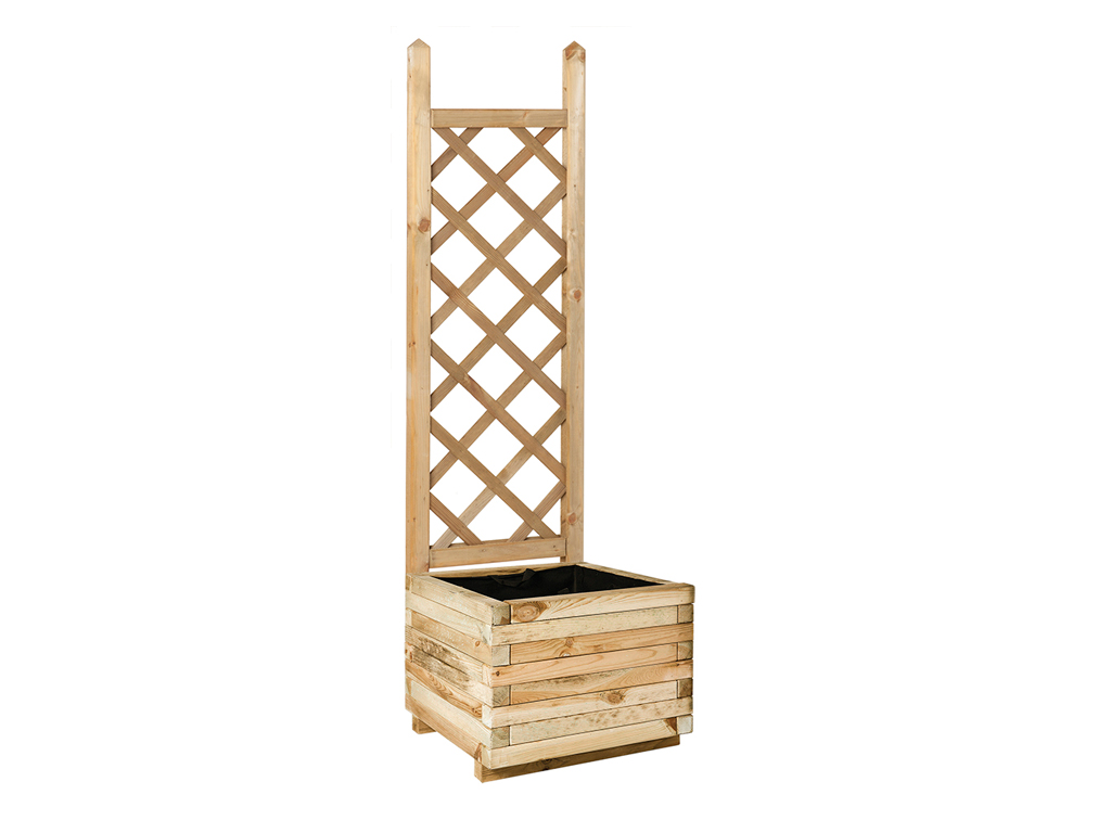 Squared planter with straight trellis