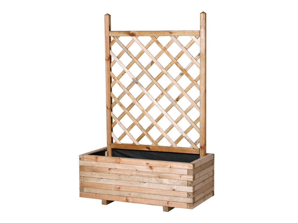 Rectangular planter with straight trellis